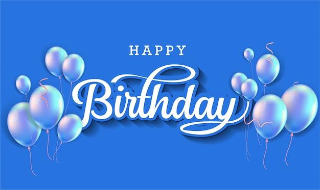С днем рождения праздник типографии с реалистичными шарами и падающего конфетти. Premium векторы