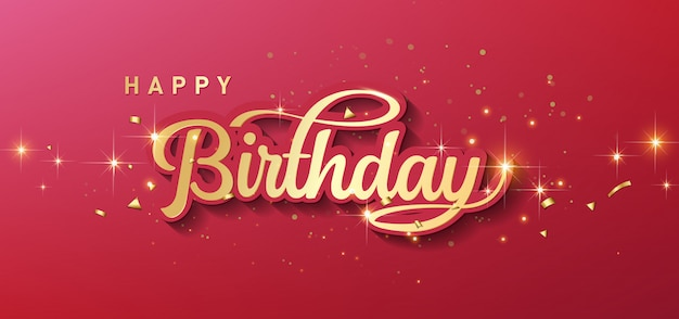 С днем рождения праздник типографии с реалистичной золотой звездой и падающим конфетти. Premium векторы