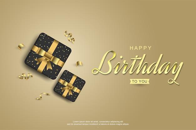 Празднование дня рождения с реалистичной подарочной коробкой Premium векторы