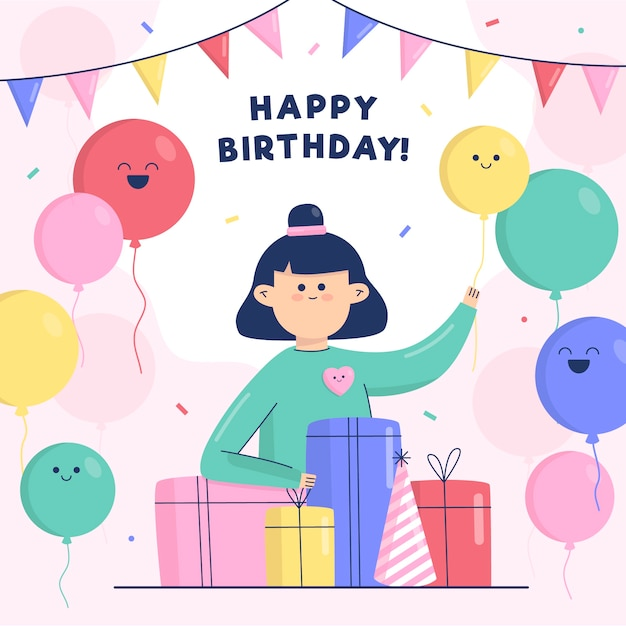 Happy birthday child with balloons and gifts Free Vector