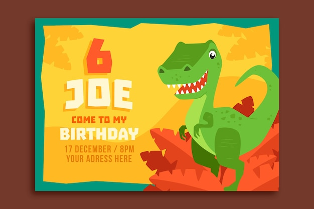 Happy birthday children's invitation with dinosaur Premium Vector
