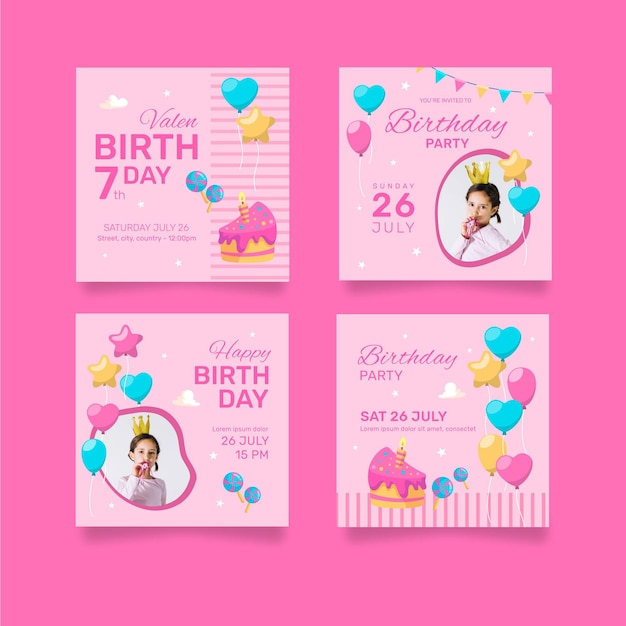 Happy birthday collection of cards Free Vector