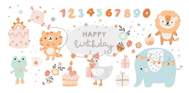 Коллекция с днем рождения с мультяшными животными, подарками, тортами Premium векторы