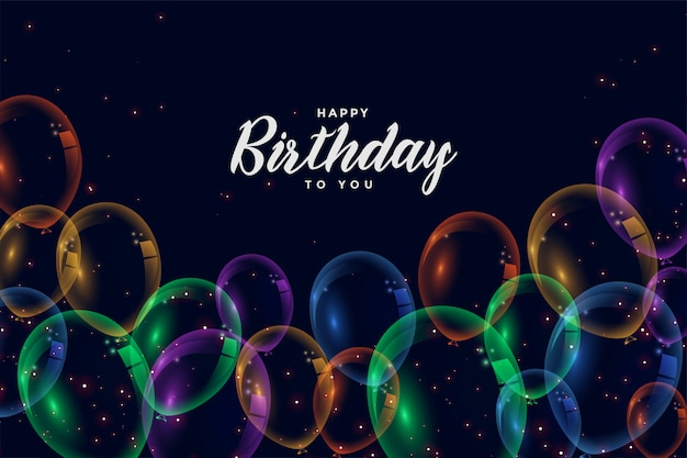Happy birthday colorful balloons celebration background Free Vector