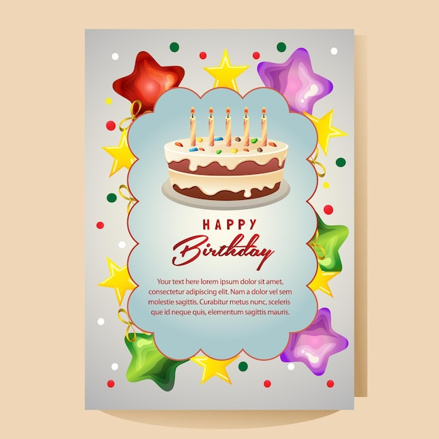Happy Birthday Colorful Card With Big Cake Premium Vector