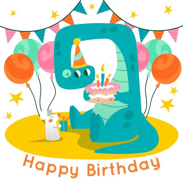 Happy birthday colorful illustration Free Vector
