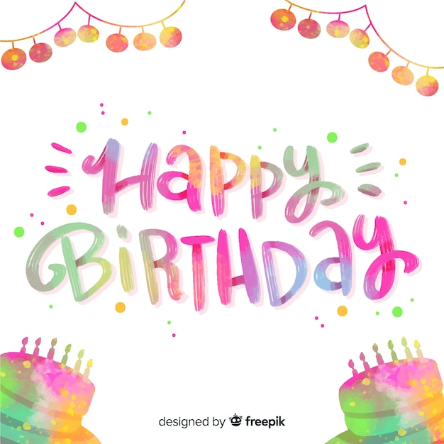 Happy birthday colorful lettering quote Free Vector