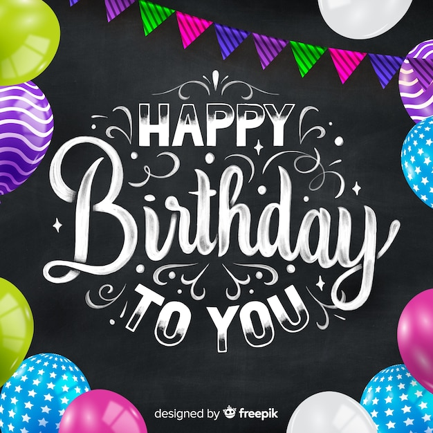 Happy birthday colorful lettering Free Vector