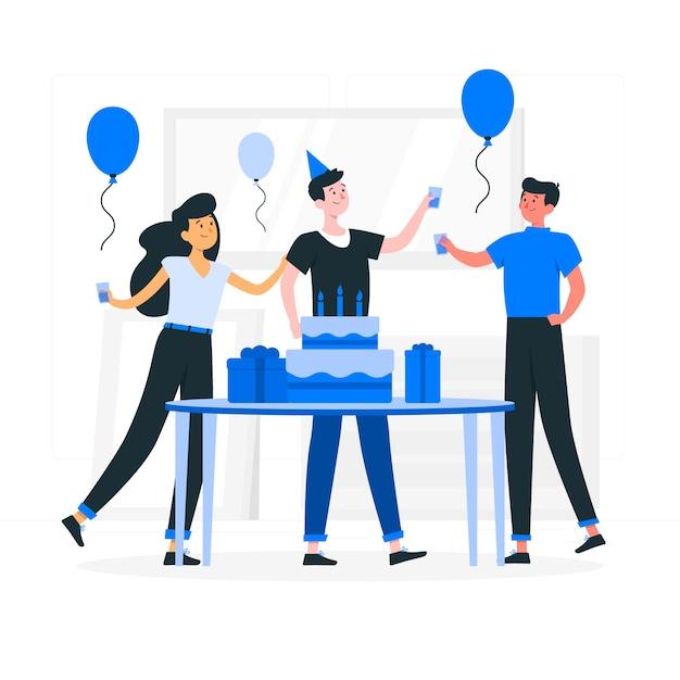 Happy birthday concept illustration Free Vector