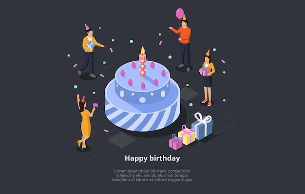 お誕生日おめでとうコンセプトベクトルイラスト。大きなお祭りケーキの周りの休日を祝う人々のグループとの等尺性3d構成 Premiumベクター