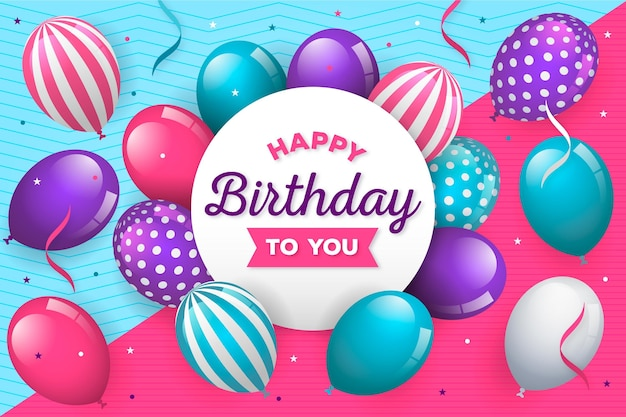Happy birthday concept with balloons Free Vector