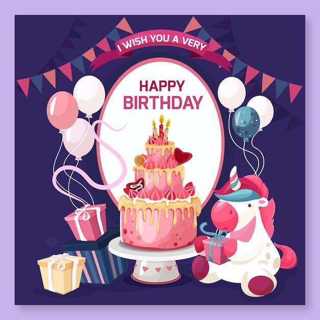 ケーキとプレゼントでお誕生日おめでとうコンセプト 無料ベクター
