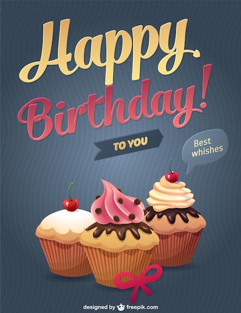 Happy birthday cupcakes Free Vector