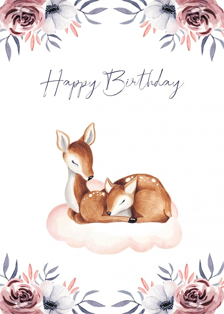 Happy birthday cute baby gift cards Premium Vector