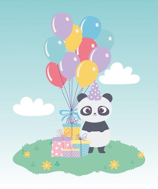 お誕生日おめでとう、かわいい小さなパンダのギフトボックスと風船のお祝い装飾漫画 Premiumベクター