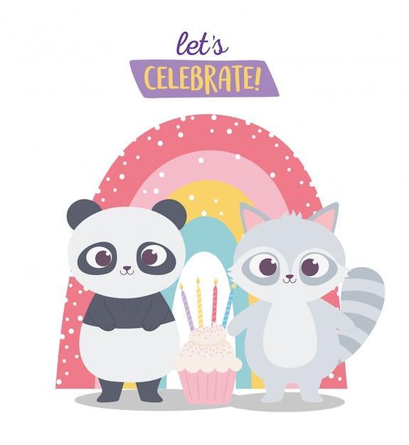 お誕生日おめでとう、かわいいアライグマ、パンダ、カップケーキ、虹のお祝い装飾漫画 Premiumベクター