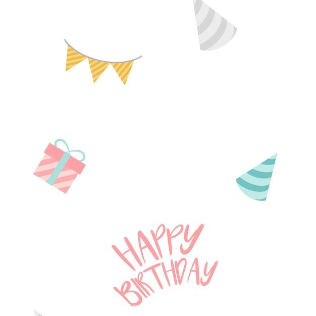 Happy birthday decoration design vector Free Vector