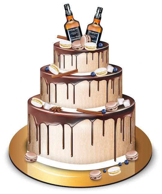 Happy Birthday Delicious Cake And Whiskey Bottles Vector Premium