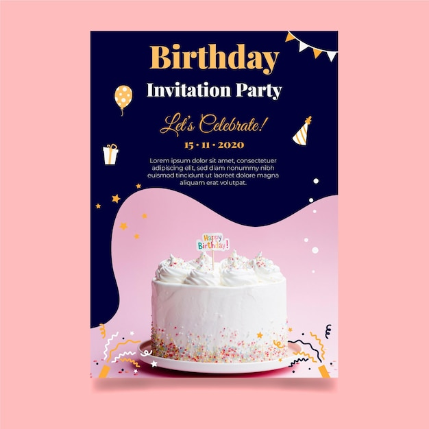 Happy birthday delicious cake card template Free Vector
