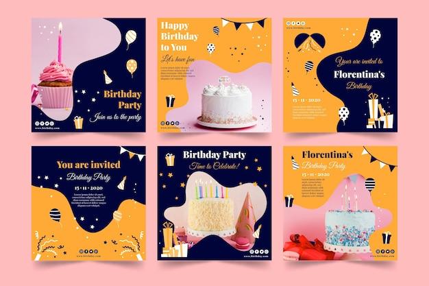 С днем рождения вкусный торт instagram post Premium векторы