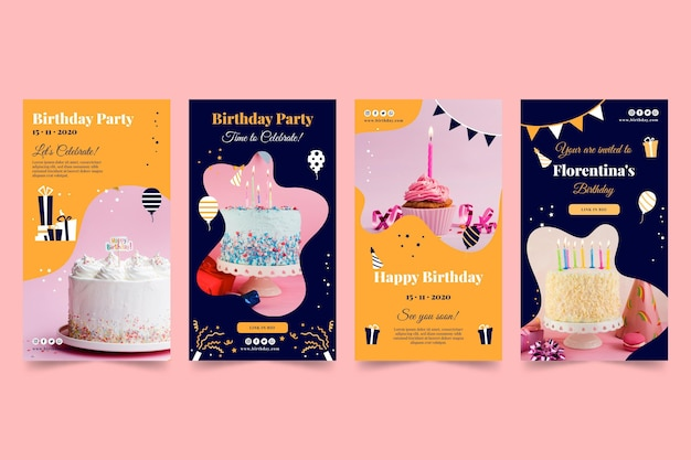 お誕生日おめでとう美味しいケーキインスタグラムストーリー Premiumベクター