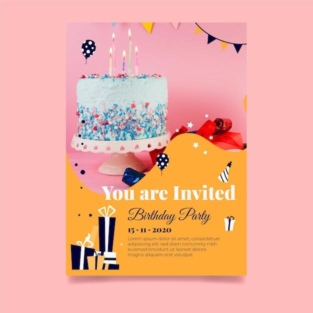 お誕生日おめでとうおいしいケーキ招待状テンプレート Premiumベクター