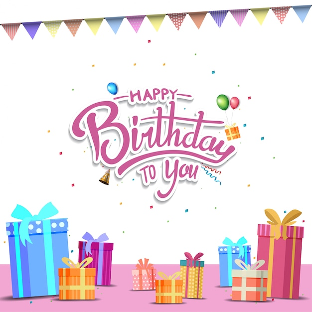 Happy Birthday Design For Background Banner And Invitation