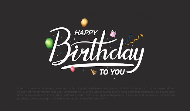 Happy birthday  design for background, banner and invitation card Premium Vector