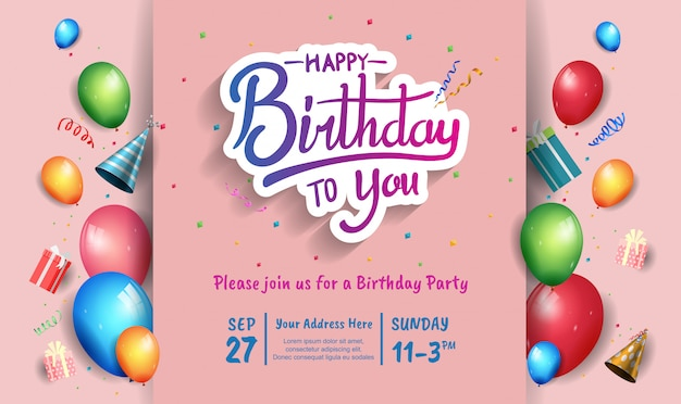 Happy birthday design for banner, poster, invitation card with colorful birthday element Premium Vector