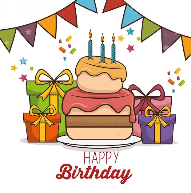 Happy birthday design isolated Free Vector