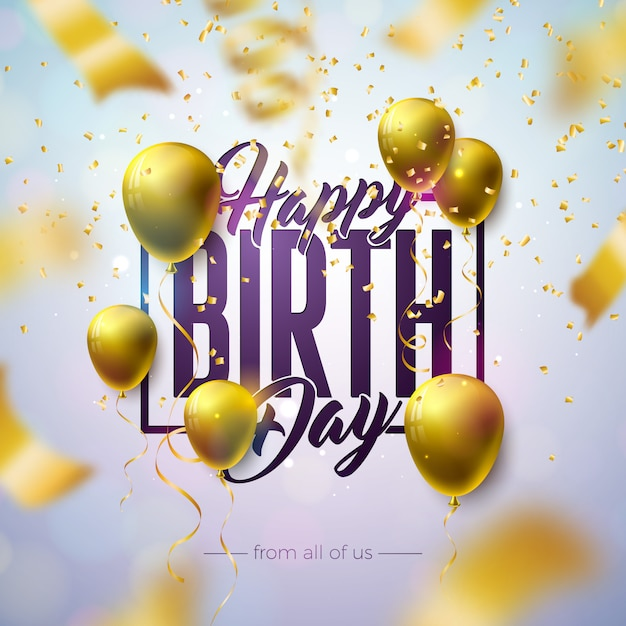 생일 축 하 디자인 풍선, 타이 포 그래피 문자와 밝은 배경에 떨어지는 색종이. 무료 벡터