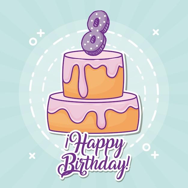 Happy birthday design with birhday cake Premium Vector