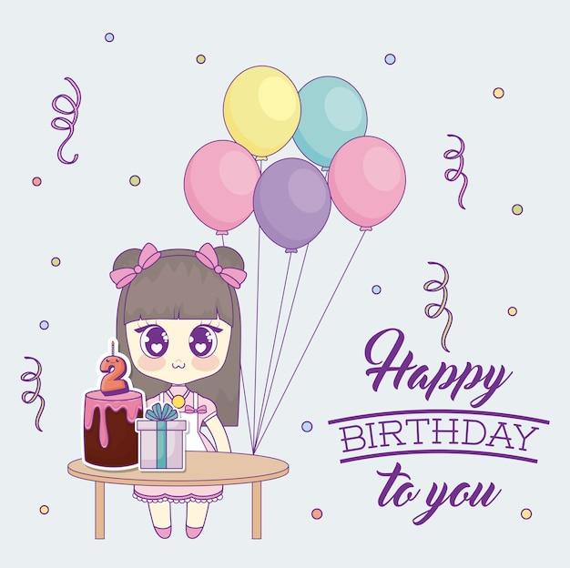 Happy birthday design with kawaii anime girl | Premium Vector