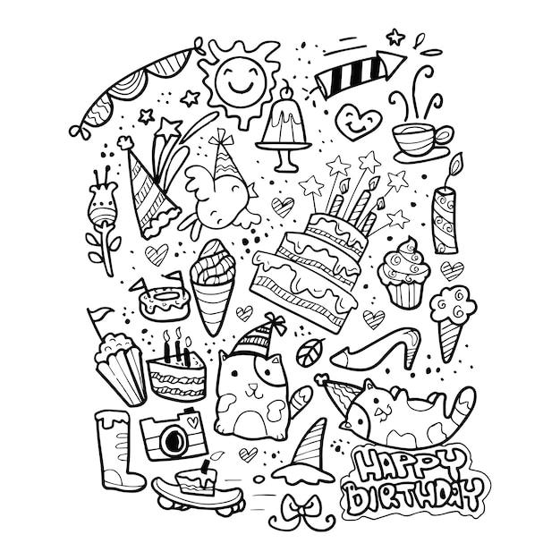 Happy birthday doodle hand drawn Premium Vector