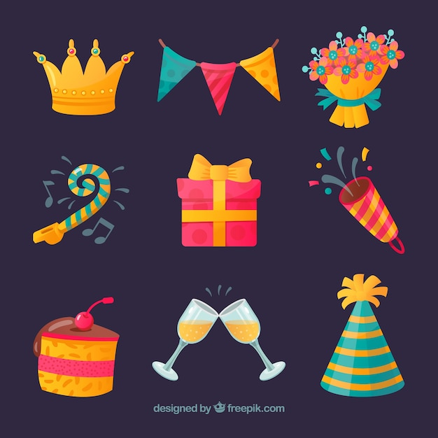 Happy birthday elements collection in flat style Free Vector