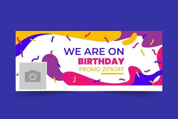 Happy birthday facebook cover template Free Vector