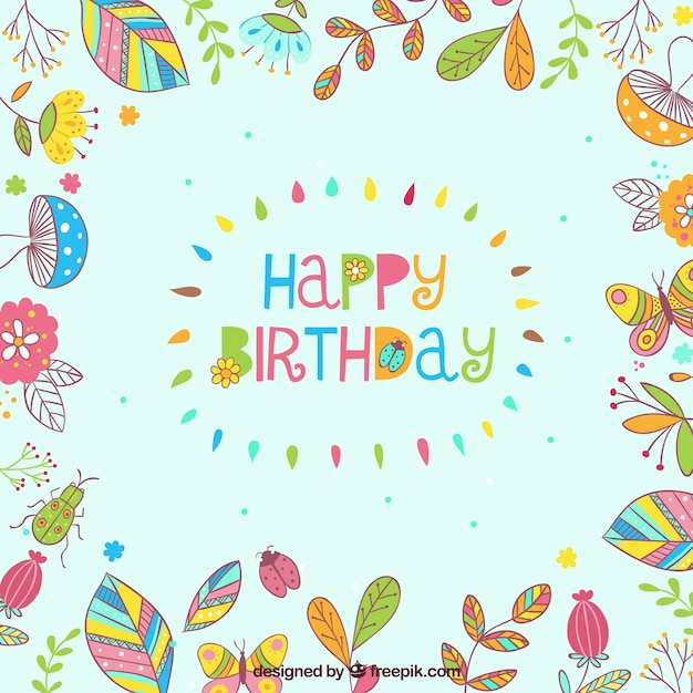 Happy Birthday Floral Frame Free Vector