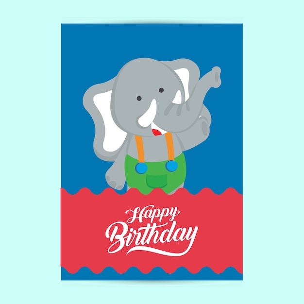 Happy birthday flyer template with elephant vector premium download happy birthday flyer template with elephant premium vector saigontimesfo