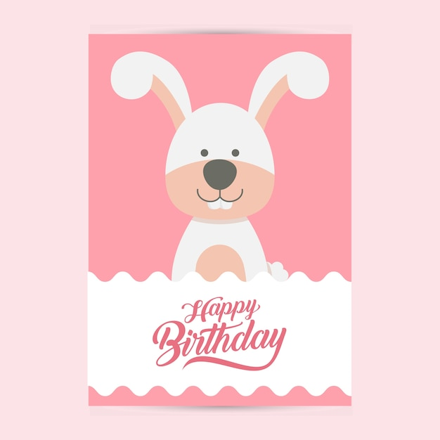 Happy Birthday Flyer Template With Rabbit Vector Premium Download
