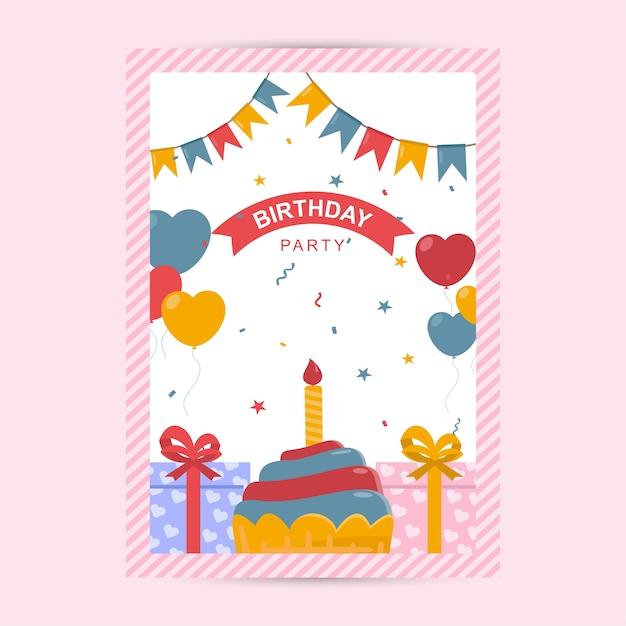 Happy Birthday Flyer Template Vector Premium Download