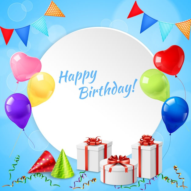 Happy birthday frame realistic Free Vector