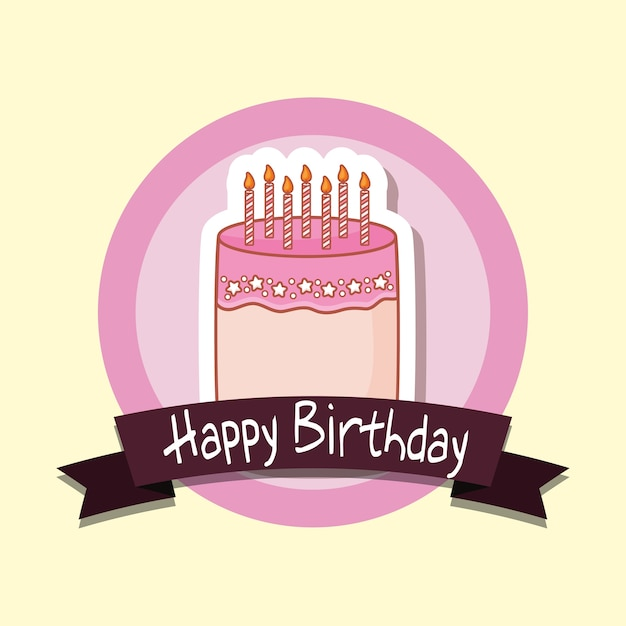 Happy Birthday Frame With Sweet Cake Vector Premium Download