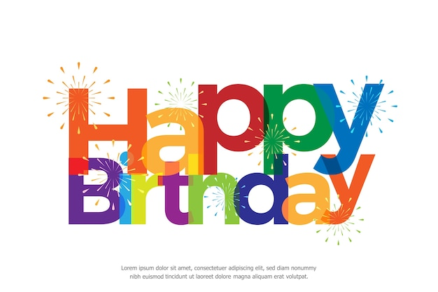 Happy birthday full color with fireworks Premium Vector