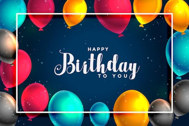 С днем рождения веселые воздушные шары дизайн карты Бесплатные векторы