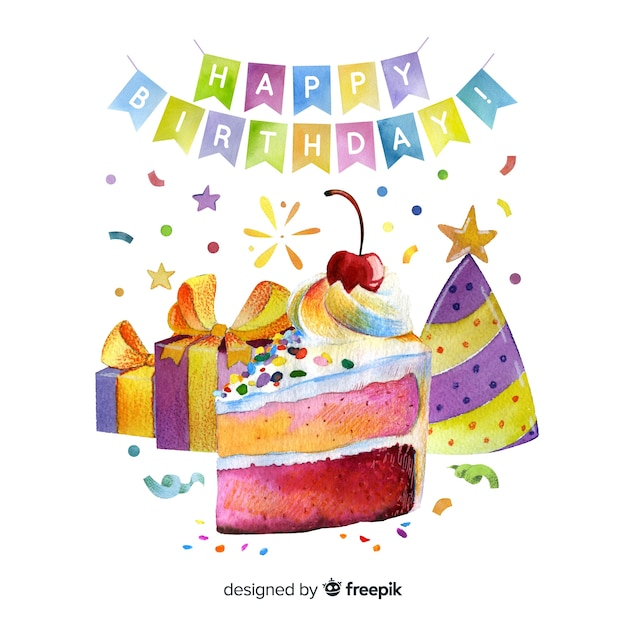 Happy birthday garlands with cake and gifts Free Vector
