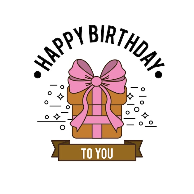 Happy Birthday Gift Present With Ribbon Decoration Premium Vector