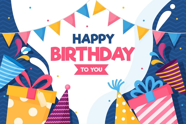 Happy birthday gifts and party hats Premium Vector