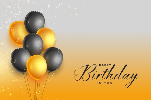 Happy birthday gold and black celebration background Free Vector