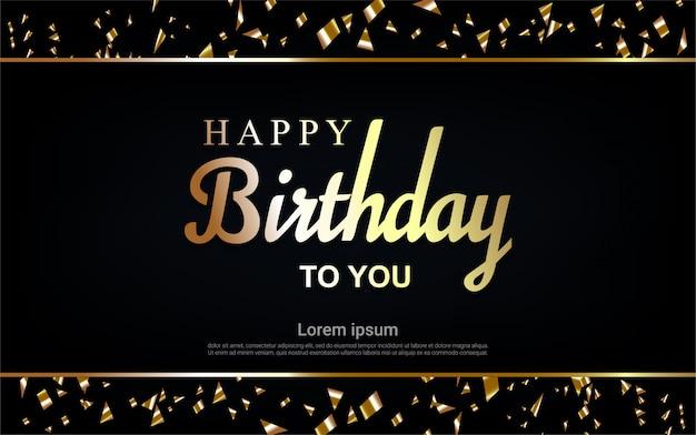 フレームとリボンでお誕生日おめでとう金文字 Premiumベクター