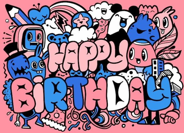 お誕生日おめでとうグリーティングカードとモンスターのキャラクター。クレイジーかわいい小さなモンスターのキャラクター Premiumベクター